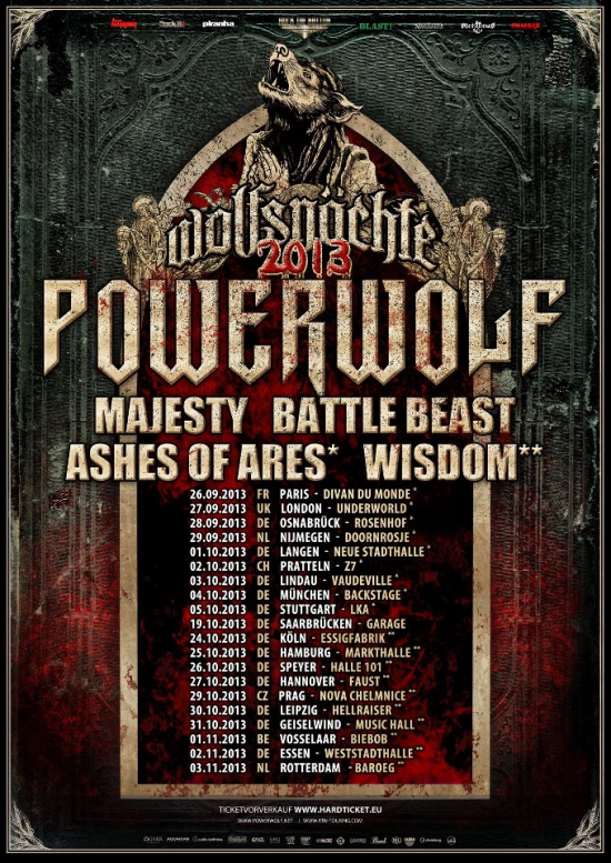 Powerwolf Tour 2013