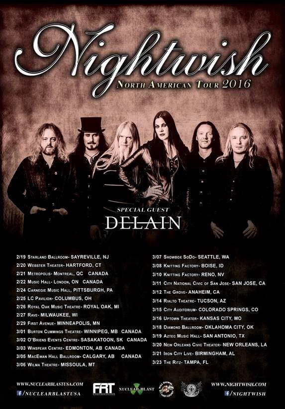 Nightwish Tour 2020.Nightwish Na Tour 2016 29 02 2016 Minneapolis