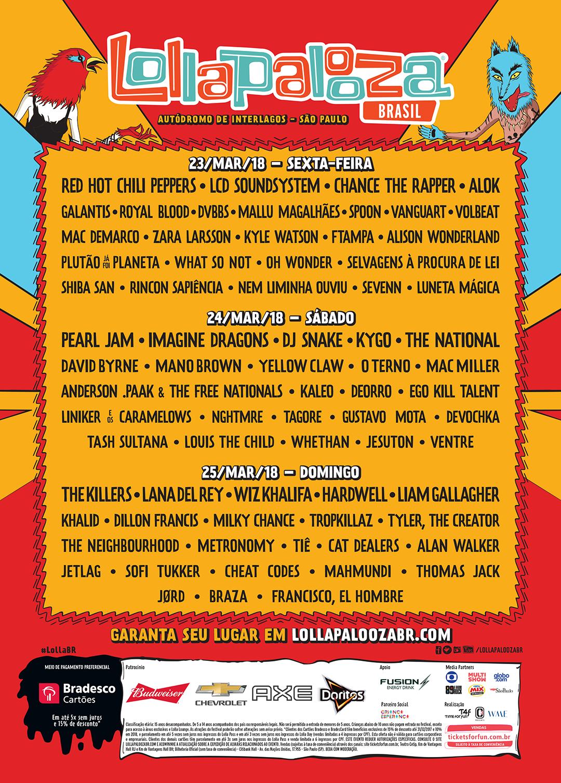 Pearl Jam Tour 2020 >> Lollapalooza Brasil 2018 - 23/03/2018 (3 days) - Sao Paulo