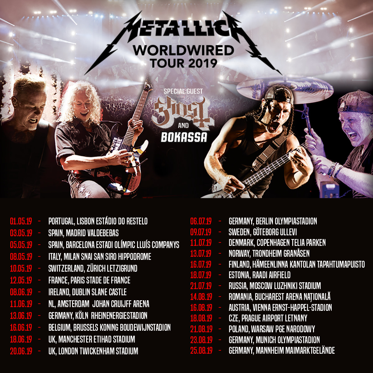 Metallica - Worldwired Tour 2020  May 10 Metallica   Tour 2019   10/05/2019   Zurich   Zurich   Switzerland