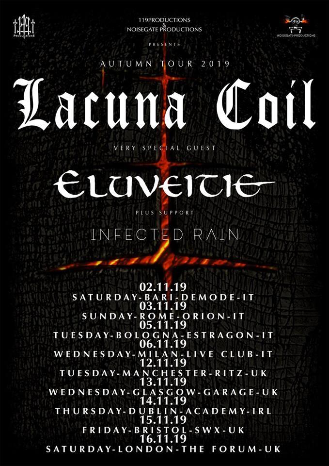 Lacuna Coil Tour 2020 Eluveitie + Lacuna Coil + Infected Rain   14/11/2019   Dublin